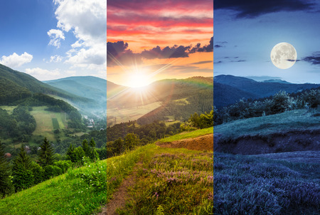Photo pour day and night composite mountain landscape. flowers on hillside meadow near village in foggy mountain  forest - image libre de droit