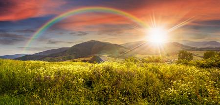 Foto de composite mountain landscape. wild flowers on meadow in mountains in sunset light with rainbow - Imagen libre de derechos