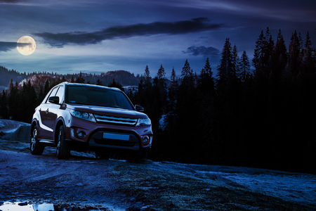 Photo pour orange 4wd suv parked in mountain at night in full moon light. beautiful autumn scenery with gravel road through spruce forest. travel Europe by car concept - image libre de droit