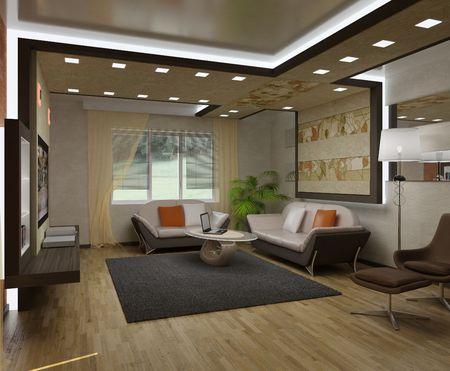 3D interior apartments with a sofa, an armchair