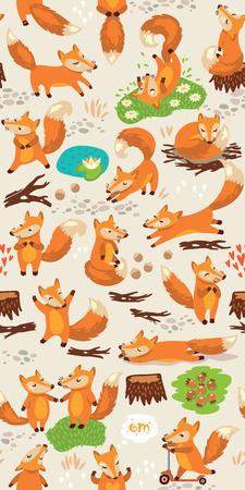 Illustration pour Funny seamless pattern with a cute little foxes - image libre de droit