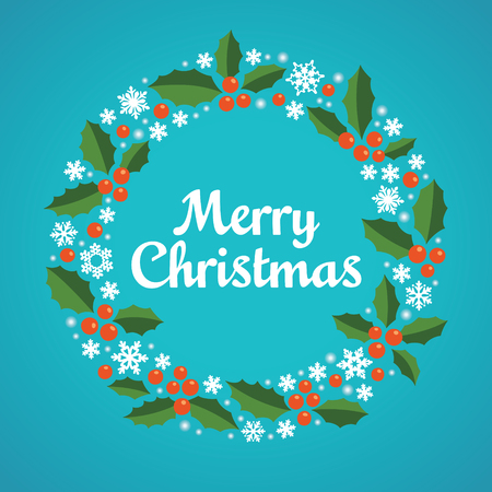 Illustration for Christmas wreath with a wish of Merry Christmas. Vector illustration. - Royalty Free Image