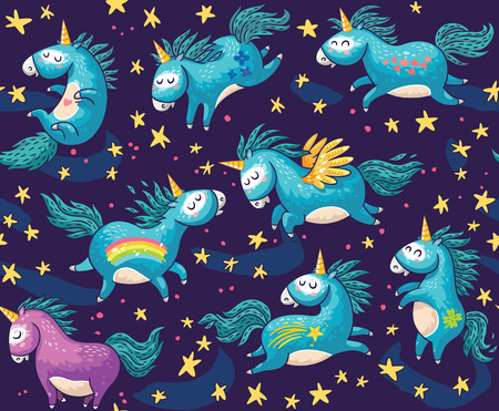 Illustration pour Vector pattern with cute unicorns, rainbow and stars. Magic background with little unicorns. - image libre de droit