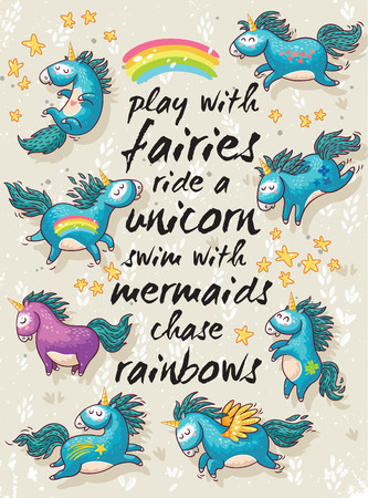 Illustration pour Vector card with unicorns, rainbow, stars, decor elements and text. Play with fairies, ride a unicorn, swim with mermaids, chase rainbows. Childish background with cartoon character - image libre de droit