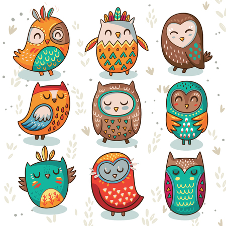 Ilustración de Cute indian hand drawn owl characters isolated on white background. Vector illustration - Imagen libre de derechos