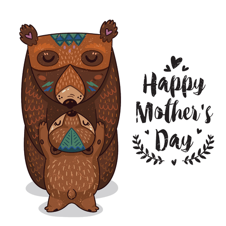 Ilustración de Happy mothers day card in cartoon style with bears. Greeting card for mom with cute animals. Baby and mother together. Vector illustration. - Imagen libre de derechos