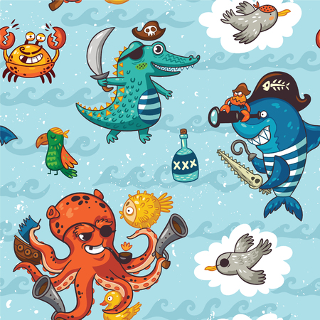 Ilustración de Pirate pattern in cartoon style. Awesome background in bright colors with pirates, crocodile, octopus, shark, crab, seagulls, parrot, and bottle of rum - Imagen libre de derechos