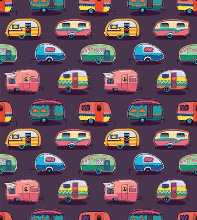 Illustration pour Cute little vintage travel trailers in color on a dark background. Vector seamless pattern - image libre de droit