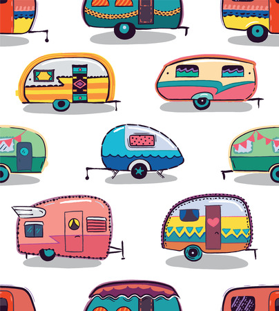 Illustration pour Cute little vintage travel trailers in color on a white background. Vector seamless pattern - image libre de droit