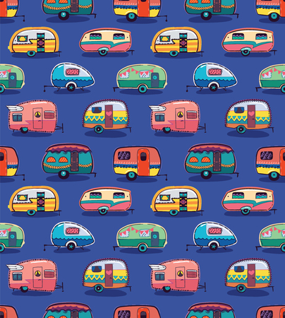 Illustration pour Cute little vintage travel trailers in color on a blue background. Vector seamless pattern - image libre de droit