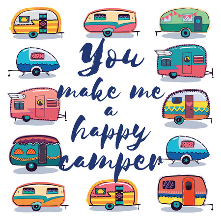 Illustration pour Retro Camper Fun. Happy Camper Card. Camping Travels Greeting Card. Cute little vintage travel trailers caravan. Vector illustration - image libre de droit