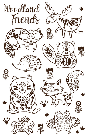 Illustration pour Woodland Animal Coloring Pages for Kids. Hand drawn vector on a white background. Coloring book. Ornamental tribal patterned illustration for tattoo, poster, print. Tribal animal coollection of deer, raccoon, beaver and hedgehog, deer, raccoon, beaver and - image libre de droit