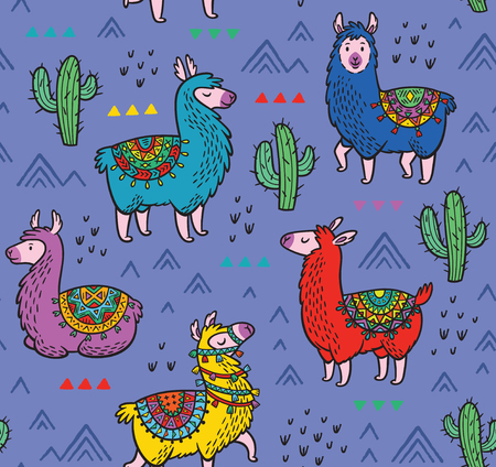 Illustration for Seamless pattern with alpaca and cactuses - Royalty Free Image