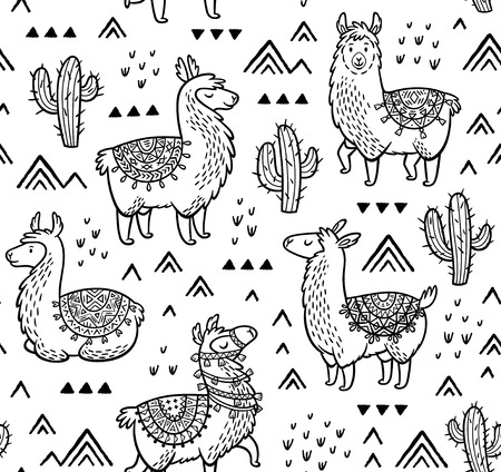 Illustration for Contour seamless pattern with alpaca and cactuses. Coloring book page - Royalty Free Image
