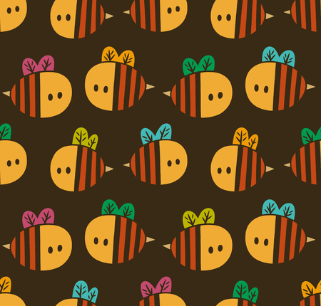 Illustration pour Seamless pattern with yellow cartoon bees isolated on a brown background - image libre de droit