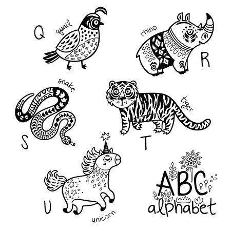 Illustration for Animals alphabet Q - U for children Vector coloring page - Royalty Free Image