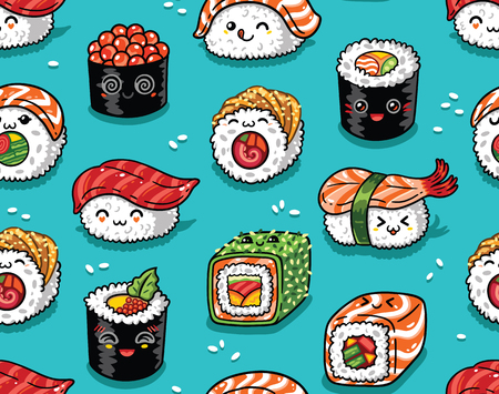 Illustration pour Sushi and sashimi seamless pattern in kawaii style. Vector illustration - image libre de droit
