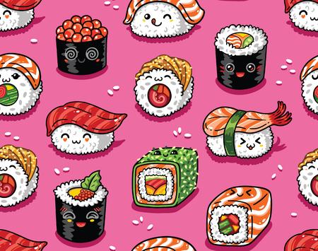 Ilustración de Sushi and sashimi seamless pattern in kawaii style. Vector illustration - Imagen libre de derechos