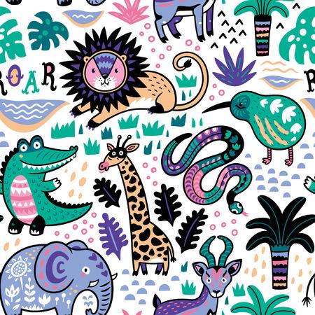 Ilustración de Fashion safari seamless pattern with jungle animals in vector - Imagen libre de derechos