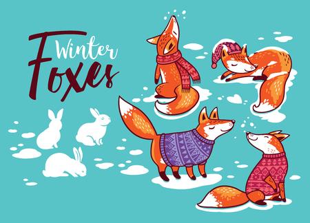 Ilustración de Collection of cartoon foxes in cozy sweaters. Vector illustration - Imagen libre de derechos