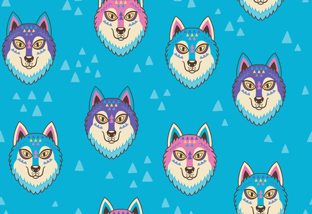 Illustration for Husky or wolf seamless pattern in blue and pink colors. Vector illustration - Royalty Free Image