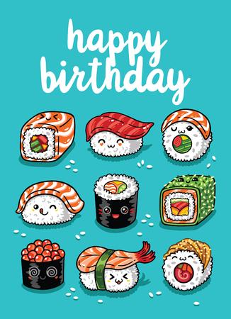 Ilustración de Happy Birthday greeting card with cartoon sushi in  style. Vector illustration - Imagen libre de derechos