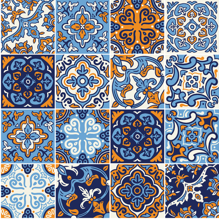 Illustration pour Collection of Spanish ceramic seamless pattern in blue and orange colors. Mosaic patchwork ornaments for design and fashion. - image libre de droit