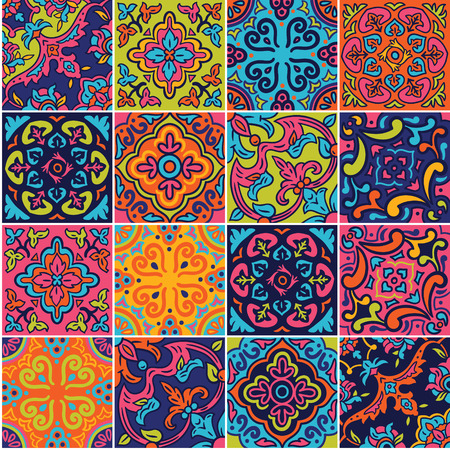 Illustration for Spanish ceramic seamless pattern in pink, blue and orange colors. Mosaic patchwork ornaments for design and fashion - Royalty Free Image