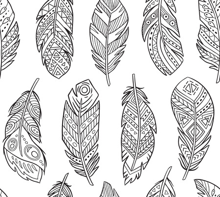Illustration for Tribal Feathers in contour endless background. Boho style - Royalty Free Image