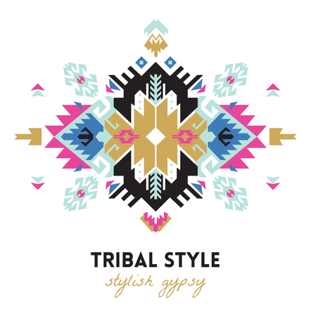 Illustration pour Ethnic design card template. Geometric tribal decorative print in boho style. - image libre de droit