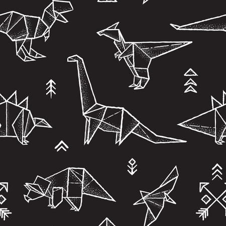 Illustration pour Seamless pattern with hand drawn origami dinosaurs in monochrome colors. Vector illustration - image libre de droit