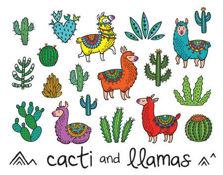 Illustration for Collection of cacti and llamas in cartoon style - Royalty Free Image