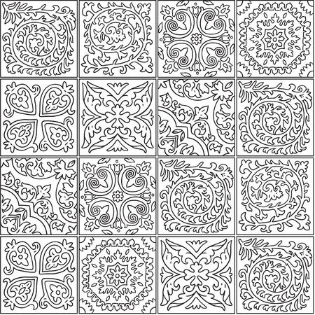 Ilustración de Black and white morocco mosaic design. Abstract ornamental tile in contour - Imagen libre de derechos