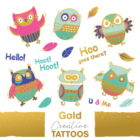 Illustration pour Vector collection of funny owls with golden ornament. Unique design - image libre de droit
