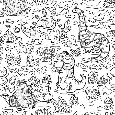 Ilustración de Seamless christmas pattern with funny dinosaurs in sweaters, hats and scarves. Black and white background vector illustration - Imagen libre de derechos