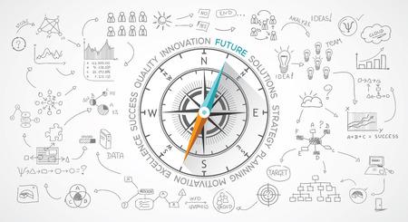 Illustration pour Vector compass about marketing and life - image libre de droit