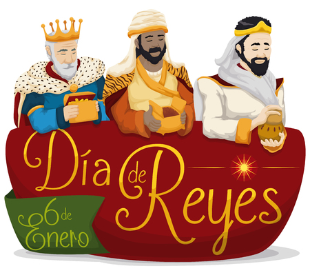 Illustration pour Colorful poster with the Three Wise Men holding their gifts over a sign with greeting message in Spanish for - image libre de droit