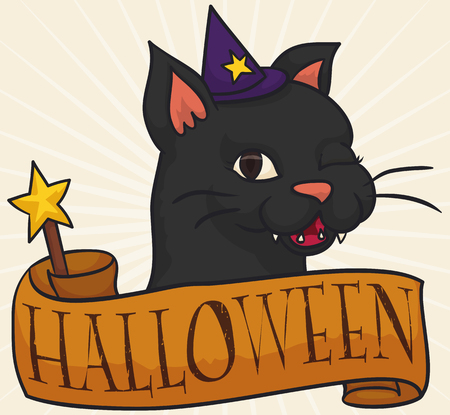 Illustrazione per Poster with cute female cat winking at you with a little pointy hat and a magic wand wrapped in a greeting ribbon for Halloween celebration. - Immagini Royalty Free