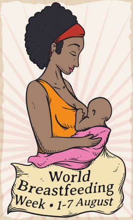 Ilustración de Poster in retro style with beautiful brunette mom with her baby and fabric with greetings celebrating World Breastfeeding Week event. - Imagen libre de derechos