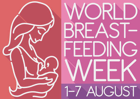 Ilustración de Commemorative poster in flat style and long shadow with mother and baby silhouette promoting World Breastfeeding Week this 1-7 August. - Imagen libre de derechos