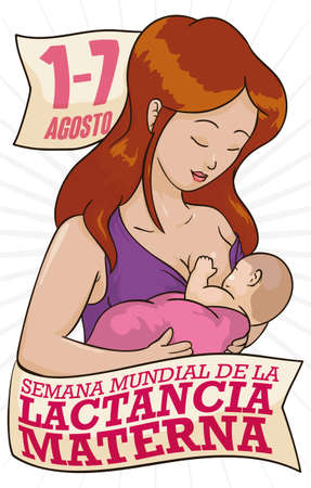 Ilustración de Beautiful mother with her baby, celebrating World Breastfeeding Week (written in Spanish) with greeting ribbons and the date. - Imagen libre de derechos