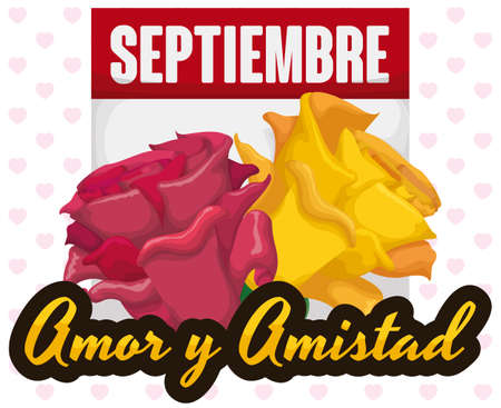 Ilustración de Loose-leaf calendar with reminder month date and beautiful pink and yellow roses to celebrate Love and Friendship Day (written in Spanish) in September. - Imagen libre de derechos