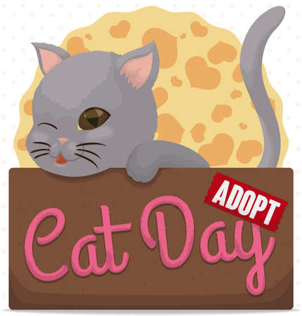 Ilustración de Cute kitty winking at you, inside a cardboard box promoting pets adoption and much love for them during Cat Day celebration. - Imagen libre de derechos