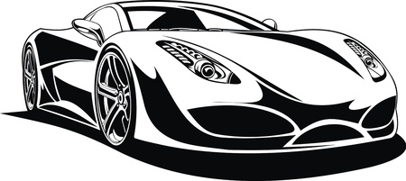 My original sport car design in black and white  mural
