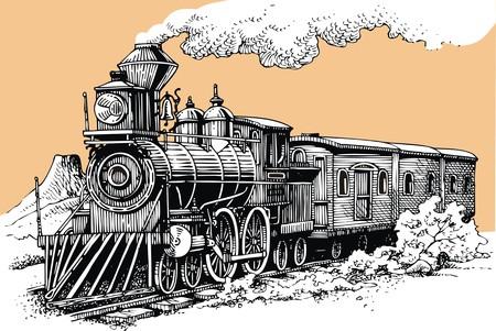 Illustration pour old steam machine from the wild west - image libre de droit