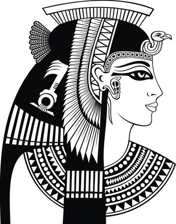 Illustration for detail of cleopatra head isolated on the white background - Royalty Free Image