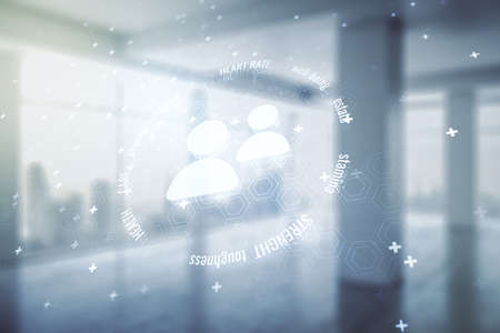Abstract virtual people icons hologram on modern interior background, life and health insurance concept. Multi exposure