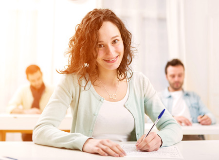 Photo for View of a Young attractive student taking exams - Royalty Free Image