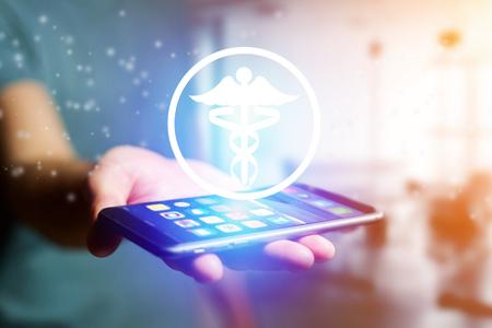 Photo pour View of a Pharmacy icon going out a smartphone interface - technology concept - image libre de droit