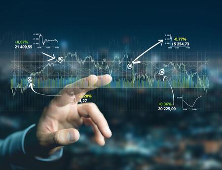 Foto de View of a Trading forex data information displayed on a stock exchange interface - Finance concept - Imagen libre de derechos
